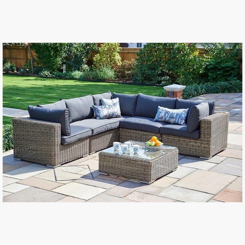 6 Piece Mayfair Modular Rattan Garden Furniture Set S