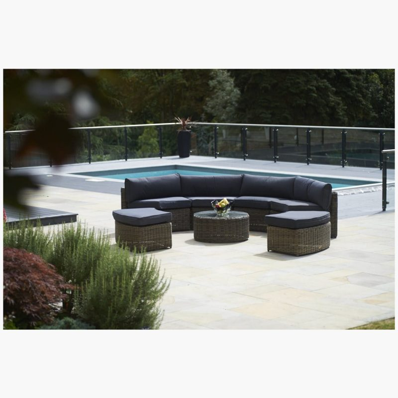 7 Piece Mayfair Curved Modular Rattan Garden Furniture Set