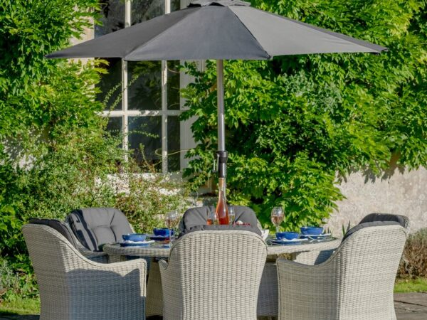 Monterey 175 x 120cm Elliptical Table with 6 Armchairs, Parasol & Base