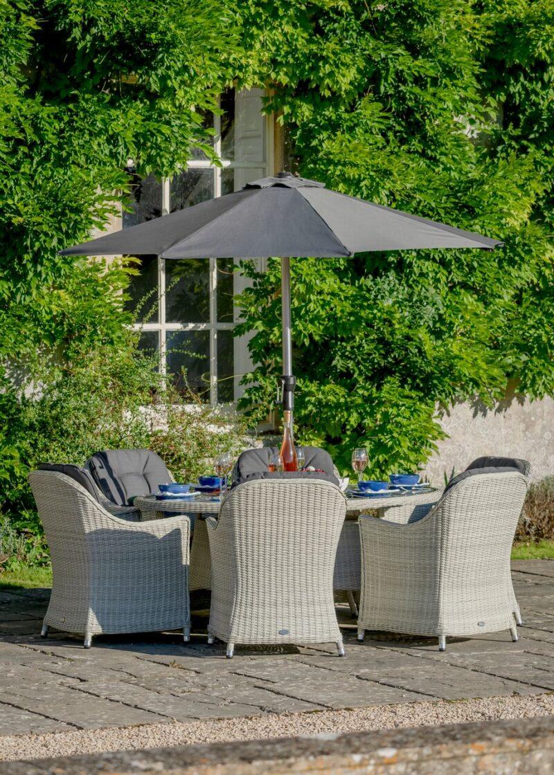 Monterey 175 x 120cm Elliptical Table with 6 Armchairs, Parasol & Base
