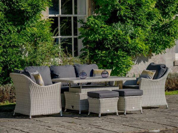 Monterey 3 Seat Sofa, 2 Sofa Armchairs, Rectangle Ceramic Adjustable Casual Dining Table & 2 Stools