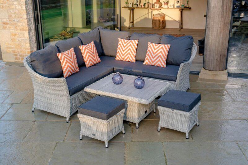 Monterey Modular Sofa with Mini Ceramic Adjustable Casual Dining Table & 2 Stools