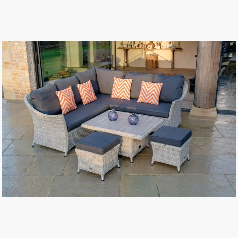Monterey Modular Sofa with Mini Ceramic Adjustable Casual Dining Table & 2 Stools