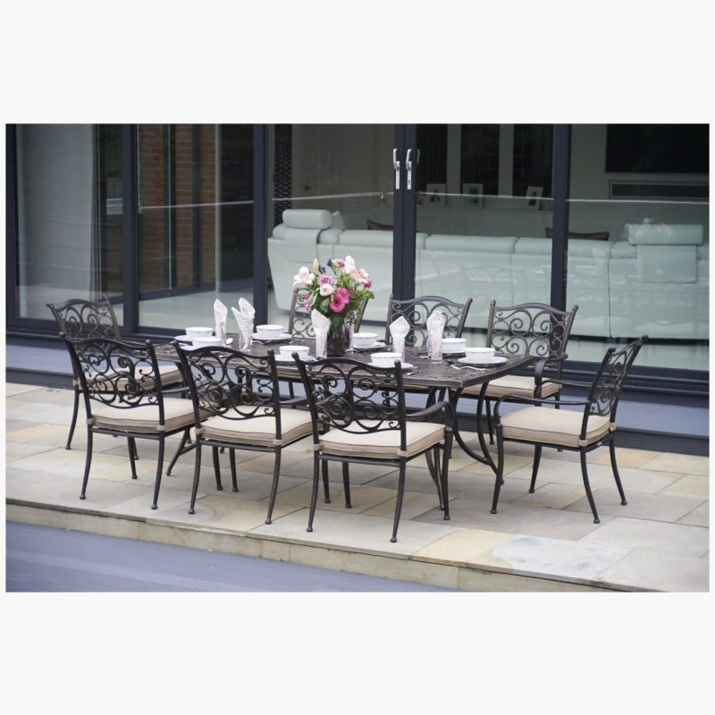 214cm Sorrento Rectangular Dining Table with 8 Stacking Armchairs