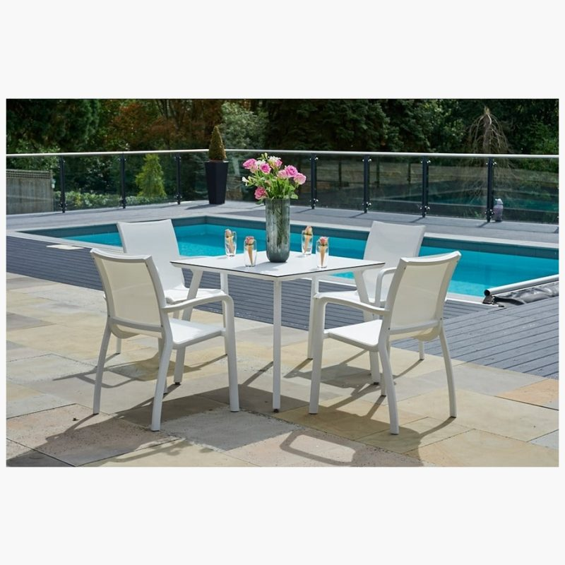 90cm Paris Ice/White Square Dining Table with 4 Stacking Armchairs