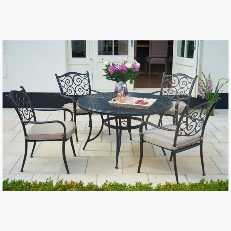 120cm Sorrento Round Dining Table with 4 Stacking Armchairs