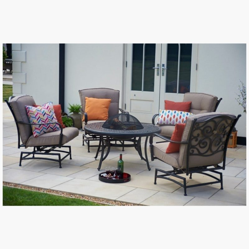 107cm Sorrento Fire Pit Table with 4 Rocking Lounge Armchairs