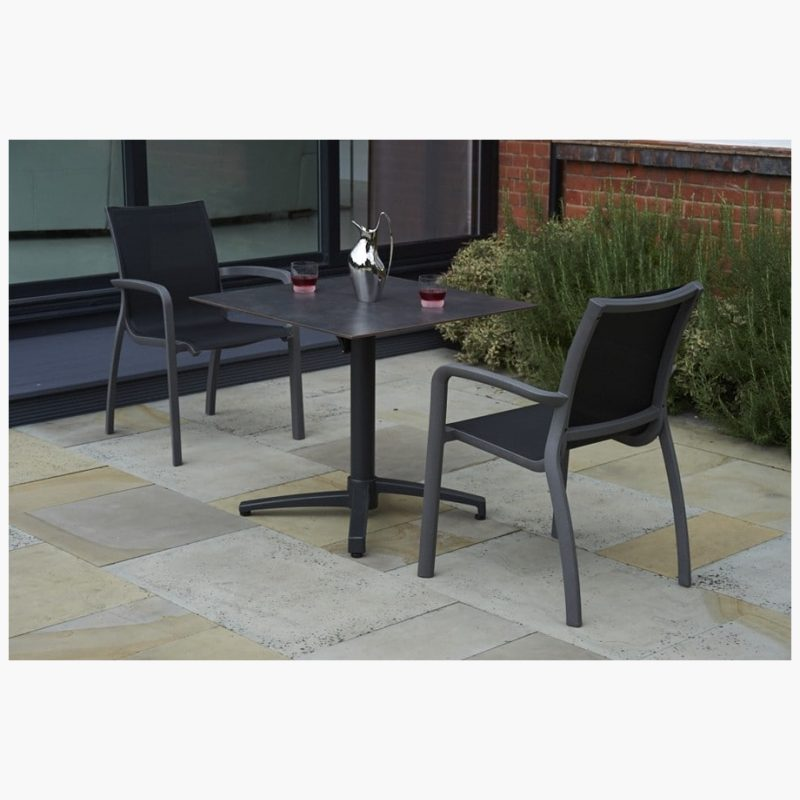 80cm Paris Black/Anthracite Square Folding Table with 2 Paris Volcano/Black Stacking Armchairs