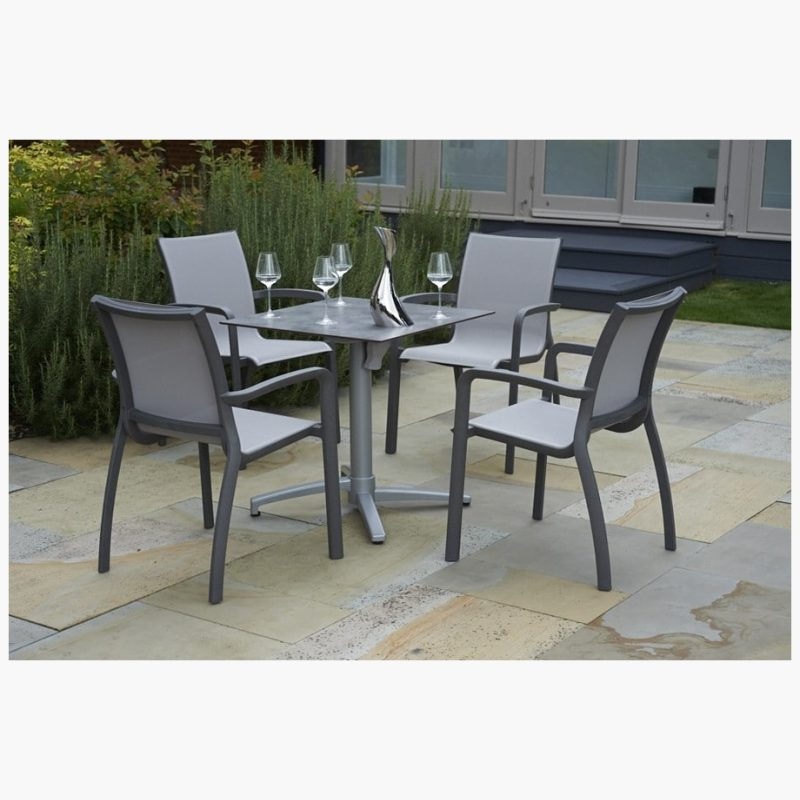 80cm Paris Silver/Cloud Square Folding Table with 4 Paris Volcano/Grey Stacking Armchairs