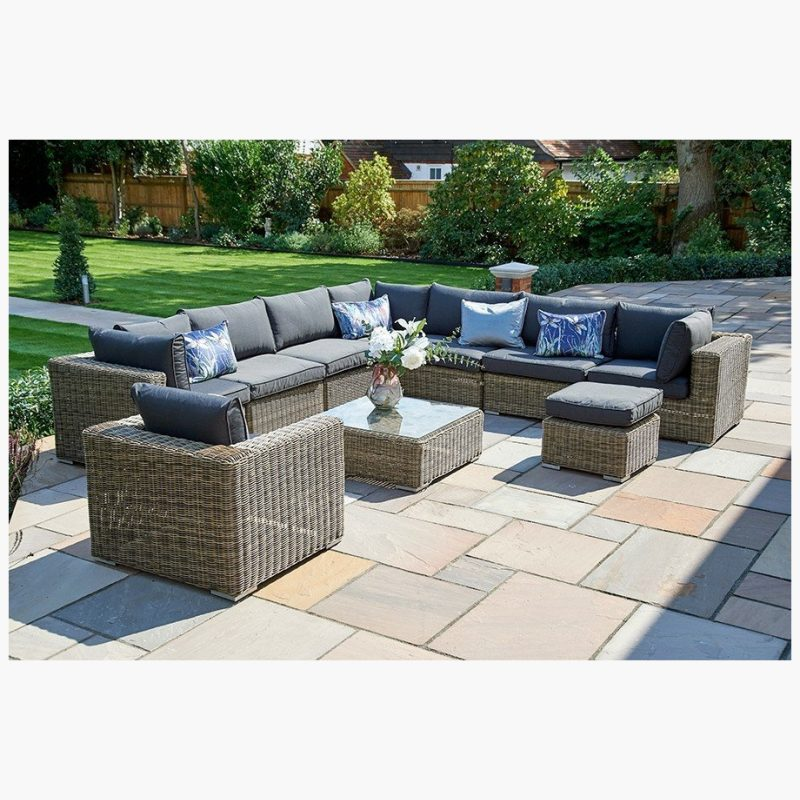 10 Piece Mayfair Modular Rattan Garden Furniture Set R