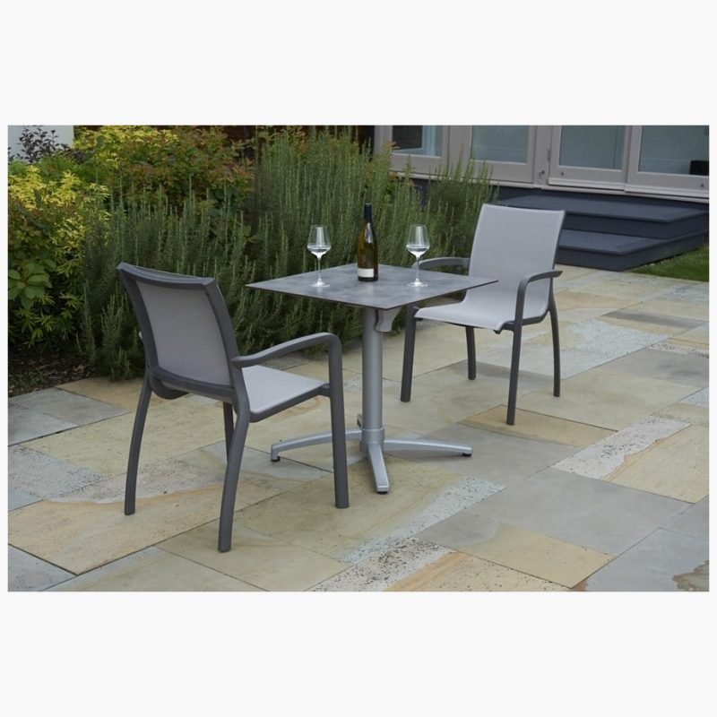 80cm Paris Silver/Cloud Square Folding Table with 2 Paris Volcano/Grey Stacking Armchairs