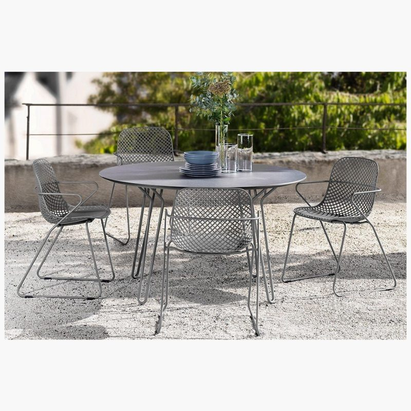 130cm Remy Grey/Black Round Dining Table with 4 Grey Stacking Armchairs