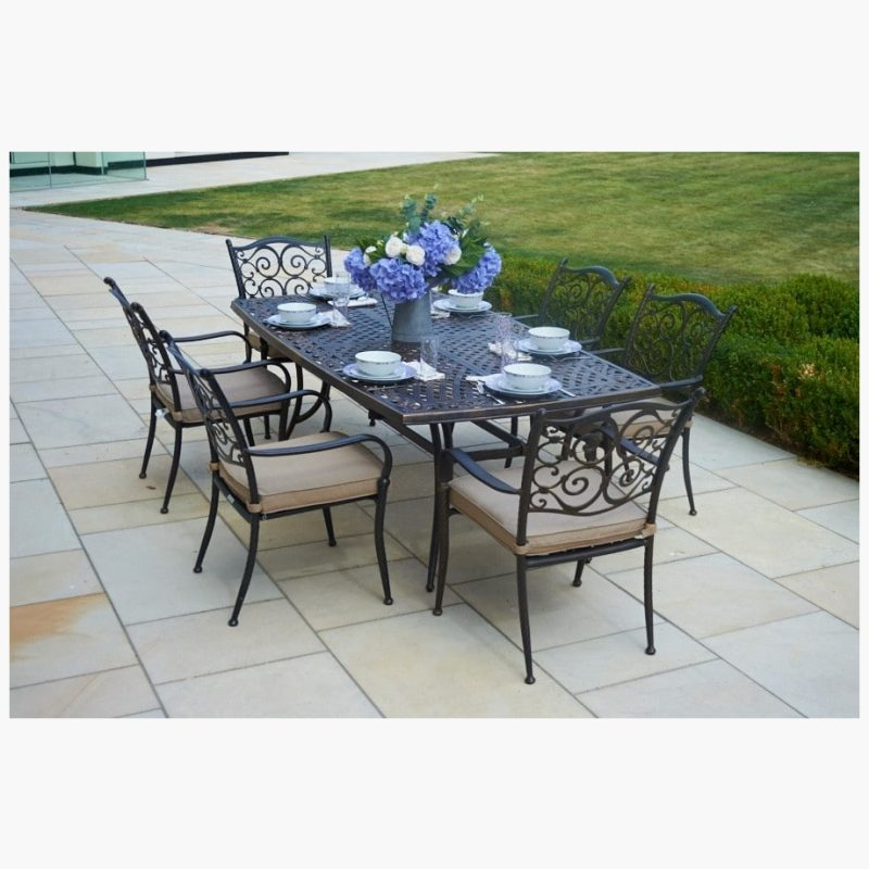 214cm Sorrento Rectangular Dining Table with 6 Stacking Armchairs