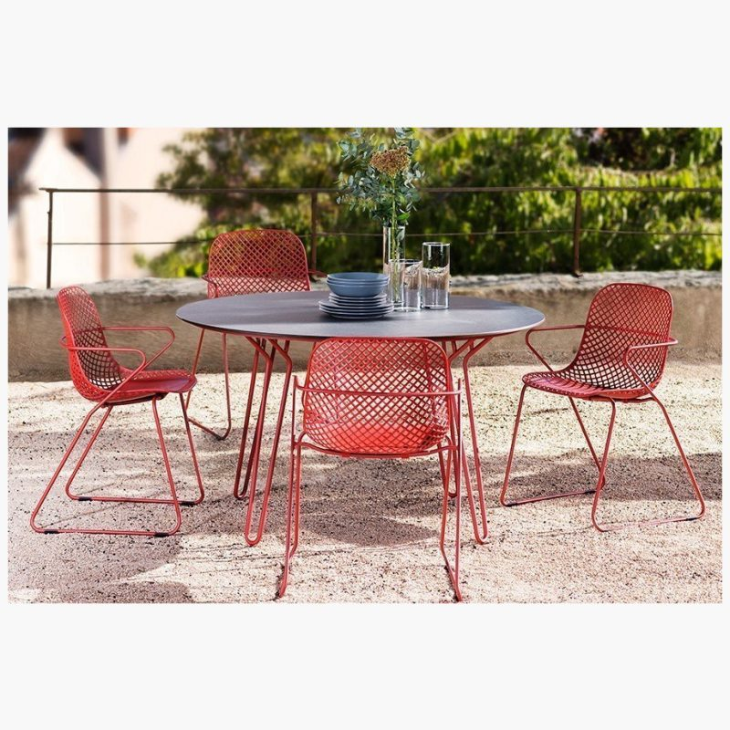 130cm Remy Red/Black Round Dining Table with 4 Red Stacking Armchairs