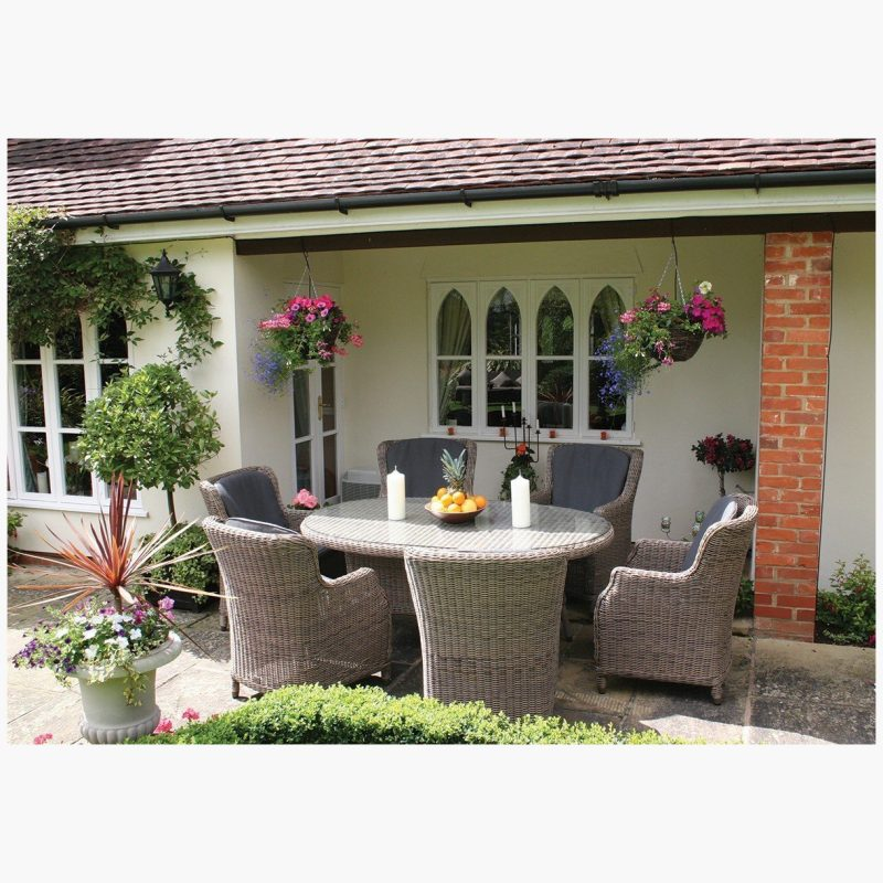 180cm Kensington Oval Dining Table with 6 High Back Dining Armchairs