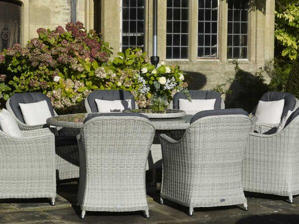 Monterey 220 x 145cm Elliptical Table with 8 Armchairs & Parasol