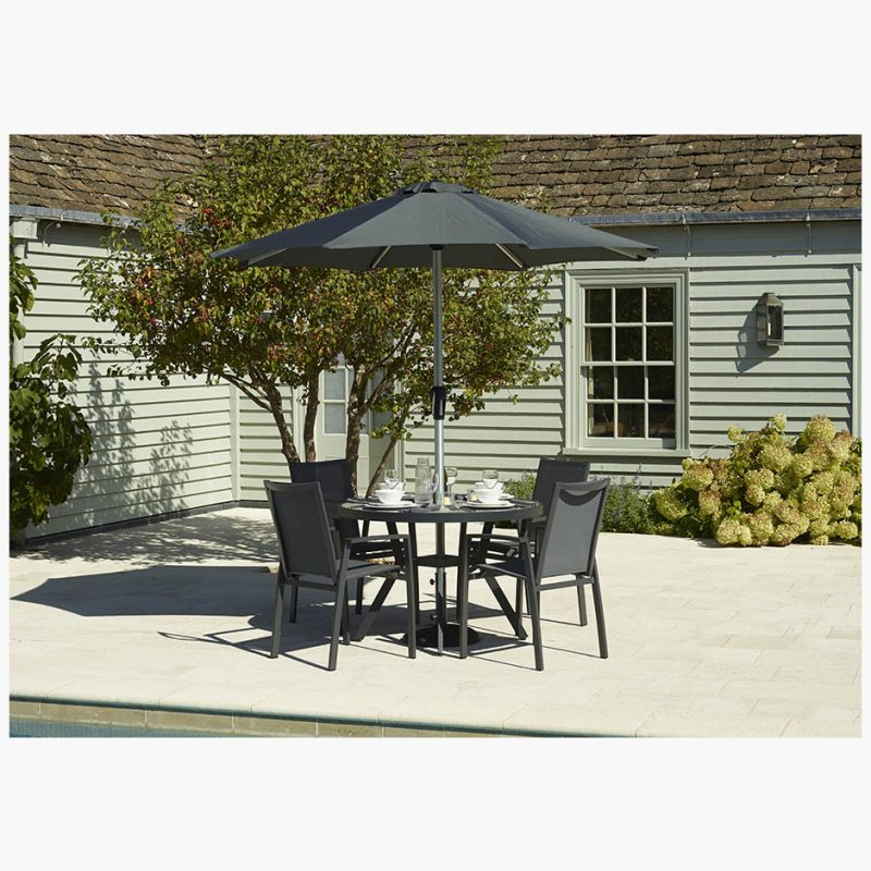 Seville 110cm Round Dining Table with 4 Seville Armchairs & Parasol