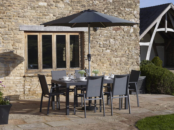 Seville 164 x 95cm Rectangle Dining Table with 6 Seville Textilene Armchairs, Parasol & Base