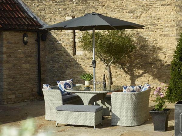 Tetbury 8 Seater Balcony Set with Parasol & Base inc Season-Proof Eco Cushions – Cloud