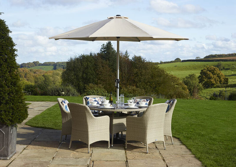 Tetbury Nutmeg 135cm Round Table with Tree-Free Top & 6 Armchairs with Eco Cushions Parasol & Base