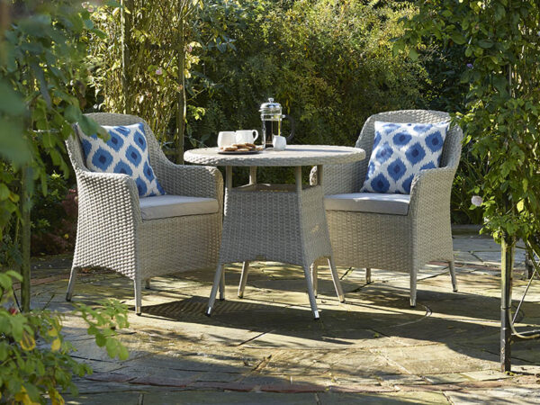 Tetbury Nutmeg 80cm Round Bistro Table with Tree Free Top & 2 Armchairs with Eco Cushions