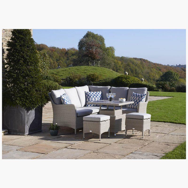 Tetbury Nutmeg Mini Modular Sofa with Eco Cushions & Dual Height Tree-Free Top Table & 2 Stools