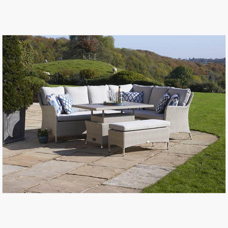 Tetbury Nutmeg Modular Sofa with Rectangle Adjustable Height Table with Glass Top