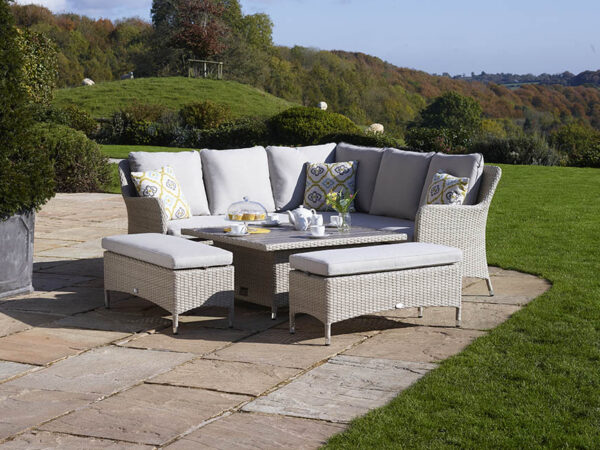 Tetbury Nutmeg Modular Sofa with Eco Cushions & Square Dual Height Tree-Free Top Table & 2 Benches