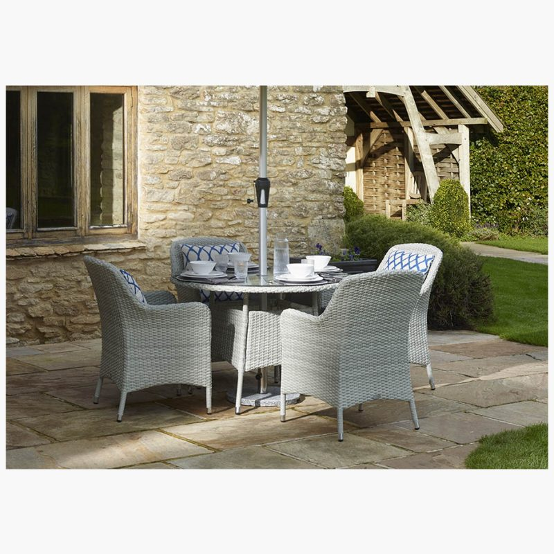 Tetbury Cloud 110cm Round Table with Glass Top & 4 Armchairs with Eco Cushions & Parasol & Base