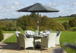 Tetbury Cloud 135cm Round Table with Glass Top & 6 Armchairs with Eco Cushions & Parasol & Base