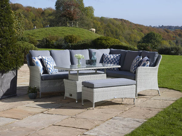Tetbury Cloud Modular Sofa with Eco Cushions & Rectangle Dual Height Glass Top Table & Bench