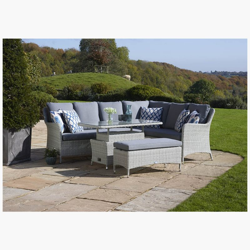 Tetbury Cloud Modular Sofa with Eco Cushions & Rectangle Dual Height Glass Top Table & Bench