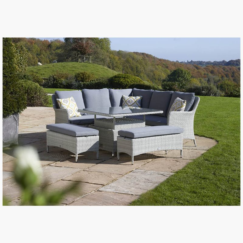Tetbury Cloud Modular Sofa with Eco Cushions & Square Dual Height Glass Top Table & 2 Benches