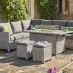 Kettler Palma Corner Set (RH) FirePit Table – Whitewash