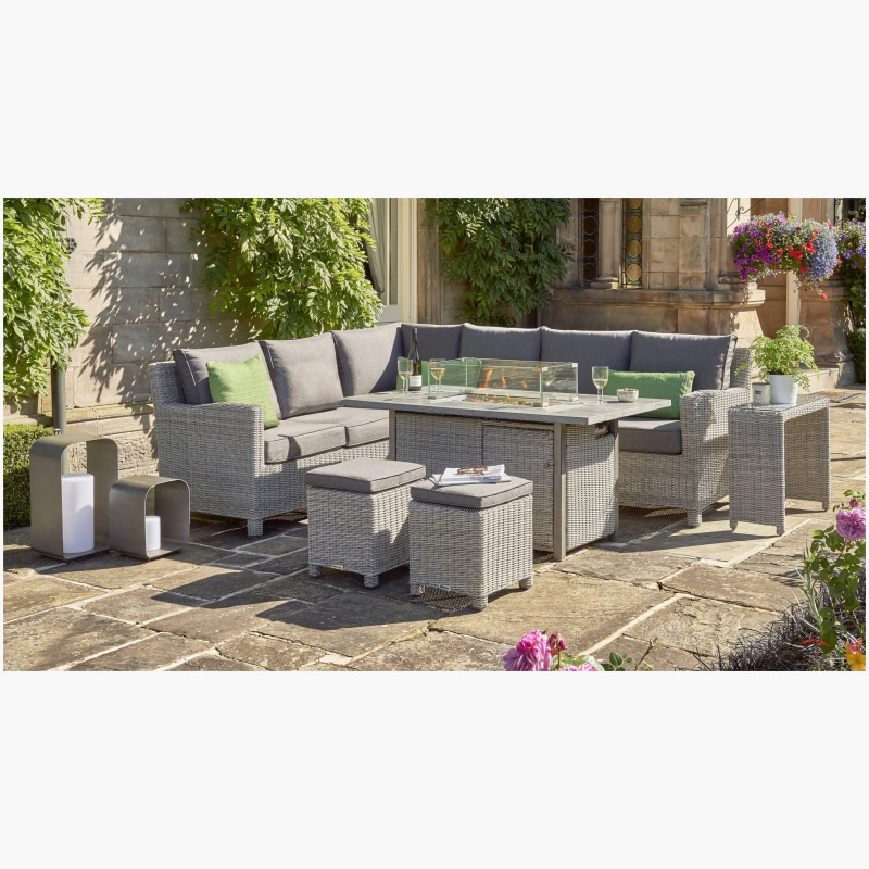 Kettler Palma Corner Set (RH) FirePit Table – Whitewash