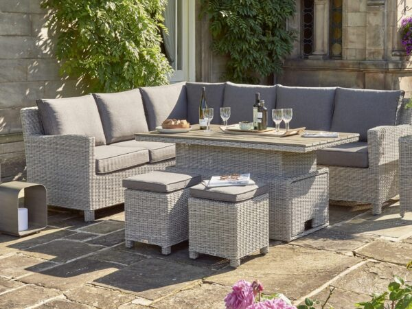 Kettler's beautiful Palma range is inspired by the cool laidback style of the Balearics. With a beautiful whitewashed-rattan effect and deep charcoal-coloured cushions, this corner sofa set more than hints at sunny Palma days and legendary Balearic sunsets.