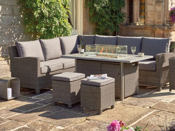 Kettler Palma Corner Set (RH) FirePit Table – Rattan
