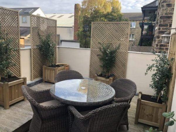 garden furniture on balcony