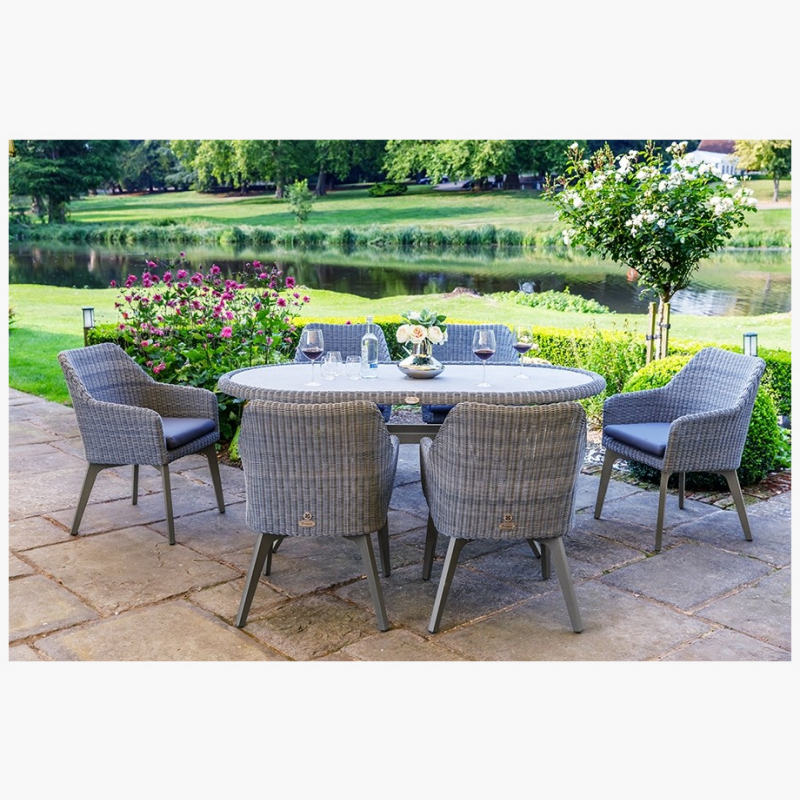 National Trust 180cm Cliveden Oval Dining Table with 6 Cliveden Dining Armchairs