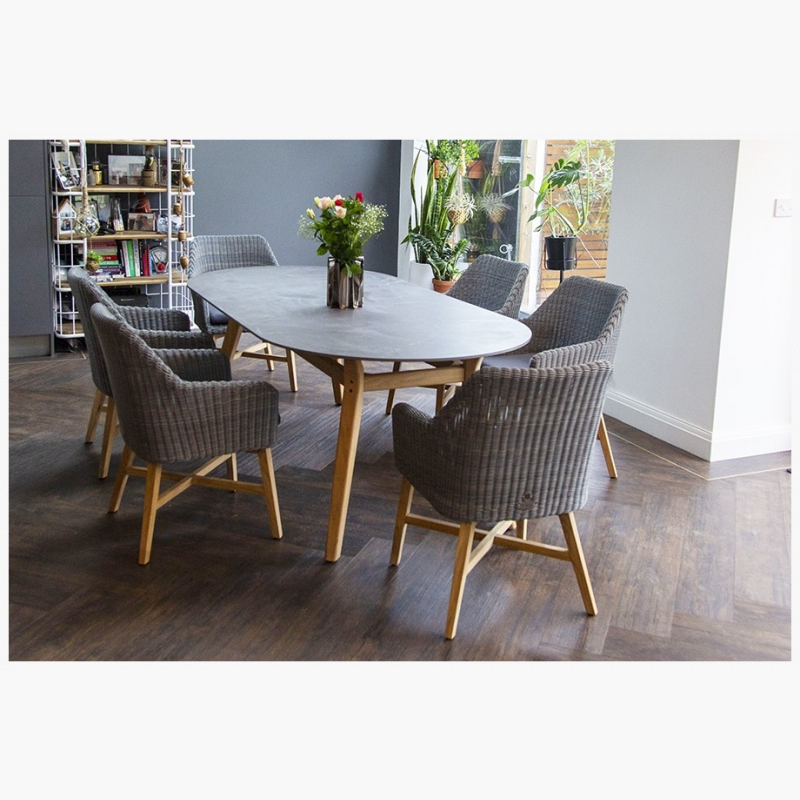 158cm Henley Ceramic Slate and Teak Dining Table with 6 Cliveden Teak Dining Armchairs