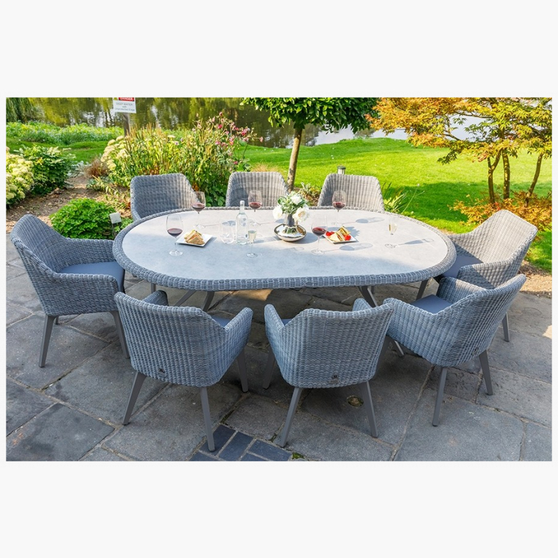 National Trust 230cm Cliveden Oval Dining Table with 8 Cliveden Dining Armchairs