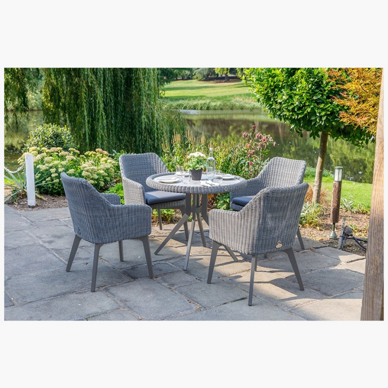 National Trust 90cm Cliveden Round Dining Table with 4 Cliveden Dining Armchairs