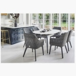 158cm Henley Ceramic Marble and Aluminium Dining Table with 6 Cliveden Dining Armchairs