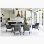 Henley Ceramic Slate and Aluminium Dining Table with 6 Cliveden Dining Armchairs