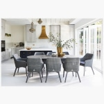 220cm Henley Ceramic Slate and Aluminium Dining Table with 8 Cliveden Dining Armchairs