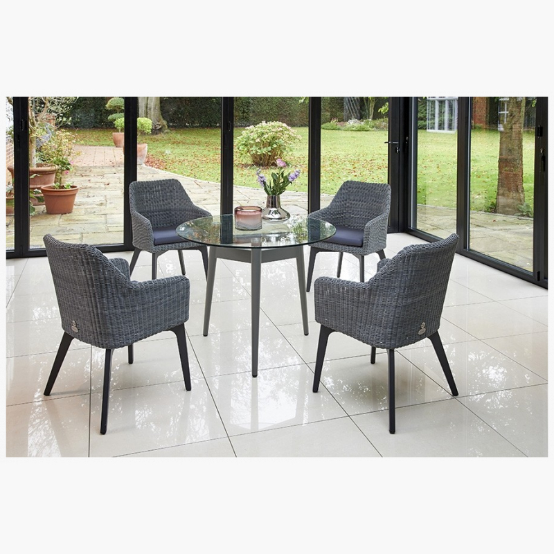 Henley Glass and Aluminium Dining Table with 4 Cliveden Dining Armchairs