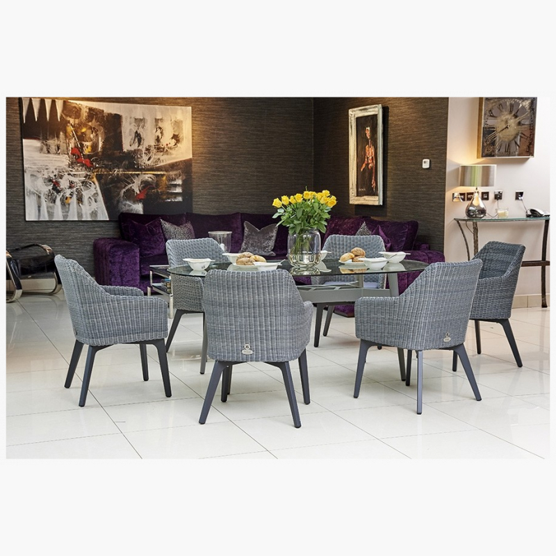 Henley Glass and Aluminium Dining Table with 6 Cliveden Dining Armchairs