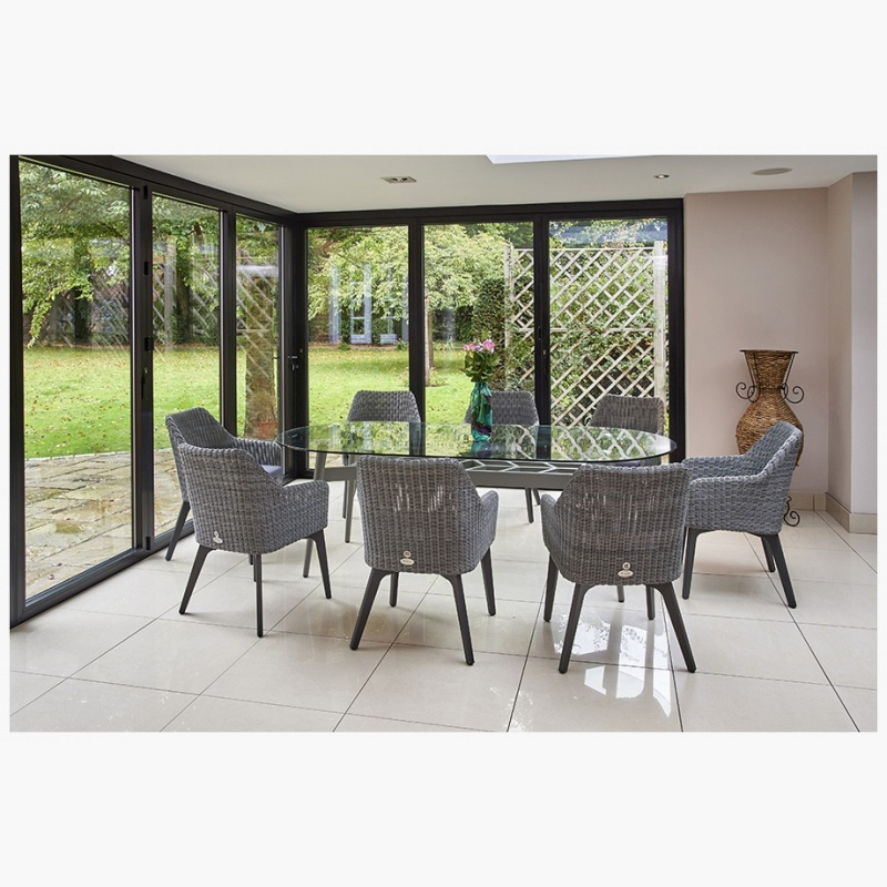 230cm Henley Glass and Aluminium Dining Table with 8 Cliveden Dining Armchairs