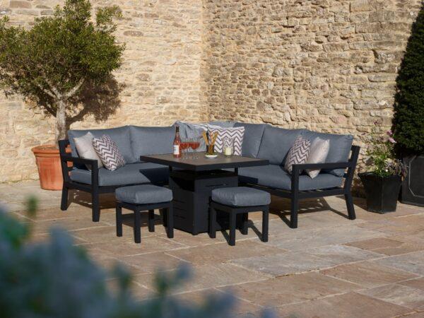 La Rochelle Mini Modular Sofa with Adjustable Ceramic Top Table & 2 Stools
