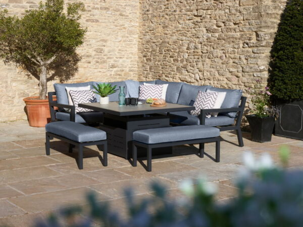 La Rochelle Modular Sofa with Square Adjustable Height Ceramic Top Table & 2 Benches
